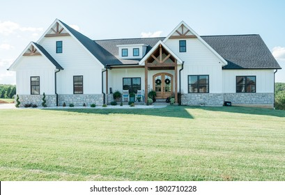 Beautiful Farmhouse with beams and stone.