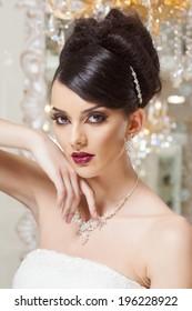 beautiful and fashion bride in luxury interior