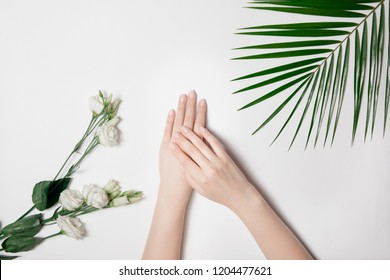 Beautiful fashion female hands with manicure pink color of nails on white background surrounded by natural flower elements. Anti-wrinkle concept cream, dry skin against frost.