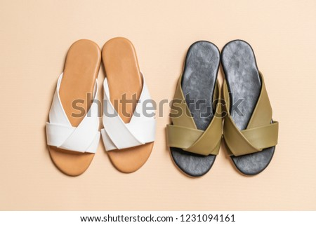 56b574a52 Beautiful Fashion Female Woman Leather Sandals Stock Photo (Edit Now ...