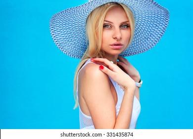 Beautiful fashion girl with hat
