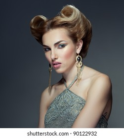 Beautiful fashion girl with retro hairstyle