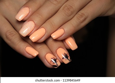 Beautiful Fashion Manicure With A Design On Long Nails