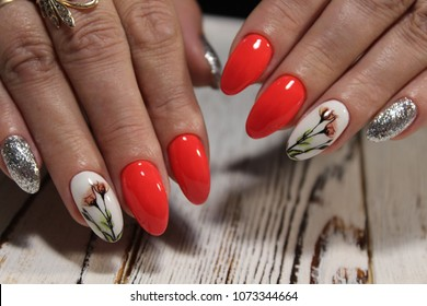 beautiful fashion manicure on a textured background