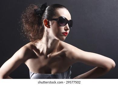 beautiful fashion model posing with attitude