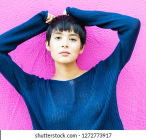 Beautiful fashion model stying short hair