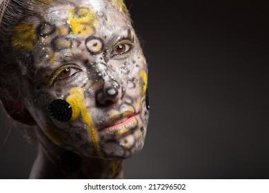 beautiful fashion woman color face art