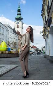 Beautiful fashion woman on the street of a city
