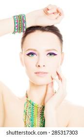 Beautiful Fashion Woman with Vivid Colorful Summer Makeup