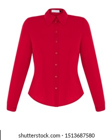 Beautiful fashionable female long-sleeved red shirt, front view, clipping path, ghost mannequin, isolated on white background.