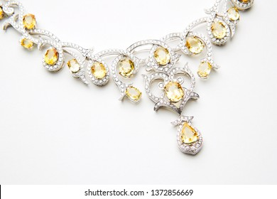 Beautiful fashionable gold and silver jewelry and accessories realistic set isolated on white background. Good for jewelry shop design.