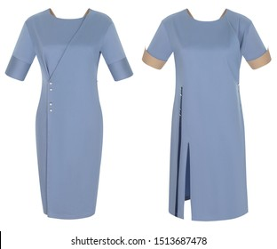 Beautiful fashionable set of women's clothing, bright luxurious blue dresses with short sleeves, clipping, ghost mannequin, isolated on a white background.