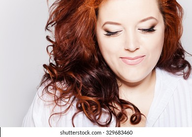 Beautiful fat  model. Studio portrait.  plus-size
