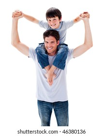 Beautiful father giving his son piggyback ride against a white background