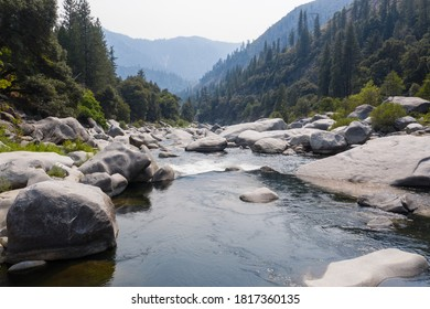 The beautiful Feather River flows through a scenic canyon in Northern California' Sierra Nevada Mountains. This beautiful flow of water is the principal tributary to the Sacramento River.