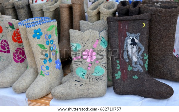 Beautiful felt boots with a pattern.Russian traditional winter boots - valenki