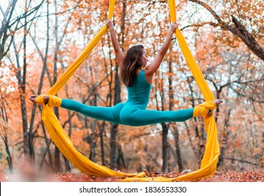 A beautiful female aerialist doing a cool trick with a stunning split on yellow canvases against the backdrop of a colorful autumn forest. Healthy lifestyle and body care. Stretching and sports.