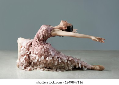 Beautiful female ballet dancer stretching bending backwards in flexibility pose on stage, conceptual balance harmony body shape, indoors strength choreography. Artistic discipline, lifestyle.