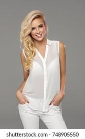 Beautiful female blond model