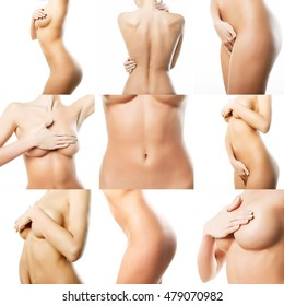 Beautiful female body. Collage of parts of the female body. Perfect skin on a white background.