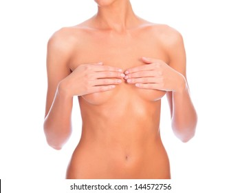 Beautiful female body isolated on clear white background