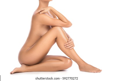 Beautiful female body on white background