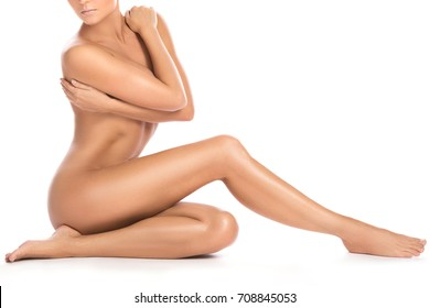 Beautiful female body on white background