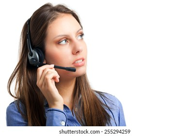 Beautiful female call center operator isolated on white