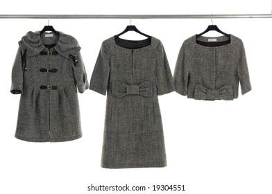 Beautiful female coat on hanging