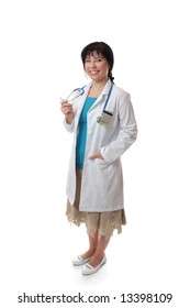 Beautiful female doctor standing on a white background.