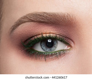 Beautiful female eye close-up with gold makeup