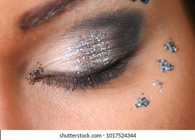 Beautiful female eye, professional make-up