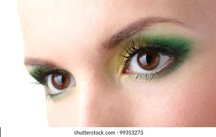 beautiful female eyes with bright make-up