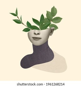 Beautiful female face with green leaves of plant on pastel yellow background. Copy space for ad, text. Modern design. Conceptual, contemporary bright artcollage. Retro styled, surrealism, fashionable.
