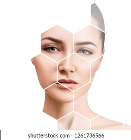 Beautiful female face in honeycombs. Spa and face lifting concept.