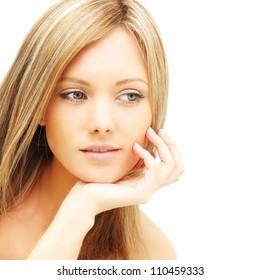 Beautiful female face - young woman isolated