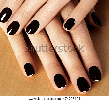 Beautiful Female Fingers Shiny Gel Manicure Stock Photo Edit Now