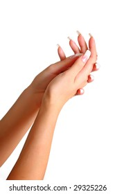 Beautiful female gentle brushes of hands with manicure