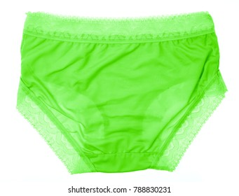 Beautiful female green panties isolated on white background. Sexy underwear