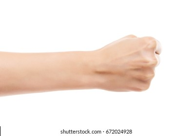 Beautiful female hand clenched fist. Isolated on white background.