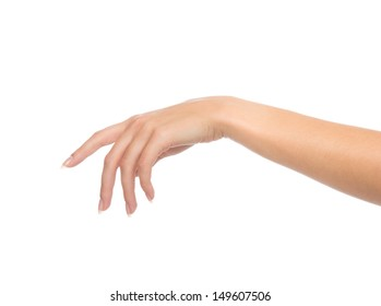 Beautiful female hand with french manicure nails isolated on a white background