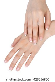Beautiful female hand with french manicure, care for sensuality woman hands