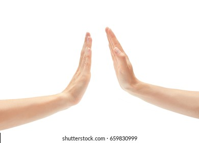 Beautiful female hand greeting high five gesture. Isolated on white background