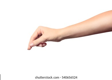 Beautiful female hand holding object isolated on white background