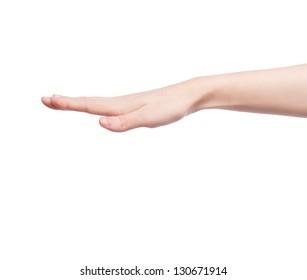 Beautiful female hand holding something