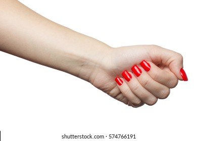 Beautiful female hand with red manicure and nail. woman's fist