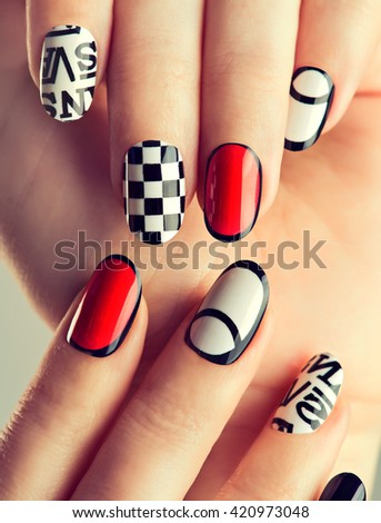 Beautiful Female Hands Colorful Nails Nail Stock Photo Edit Now