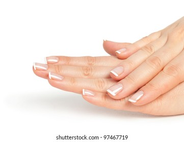 Beautiful female hands with french manicure