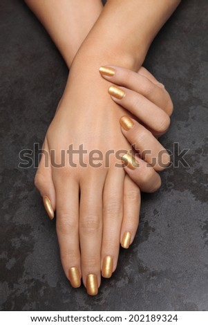 Beautiful Female Hands Gold Nail Polish Stock Photo (Edit Now ...