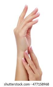Beautiful female hands isolated on white background